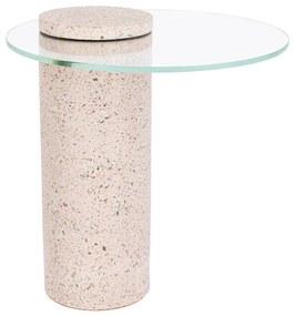 Zuiver Rosalina Terrazzo Bijzettafel Met Glas Roze - 40 X 40cm.