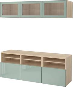 BESTÅ Tv-opbergcombi/vitrinedeuren 180x40x192 cm wit gelazuurd eikeneffect /hoogglans/licht grijsgroen helder glas