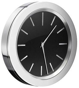 Klok Smedbo Time 6x1 cm Chroom met Zwarte Wijzerplaat