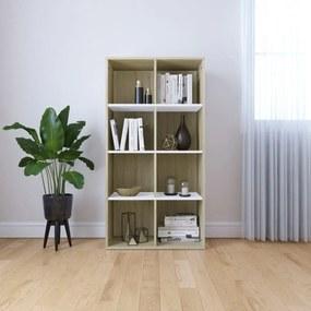 Boekenkast/dressoir 66x30x130 cm spaanplaat wit en eikenkleurig