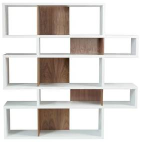 TemaHome London Design Boekenkast Wit - Walnoot - 156x34x160cm.