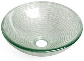 Saniclass Pesca Mela waskom 30x10,5cm rond gehard glas wit grijs GS-L00753