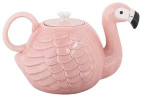 Theepot flamingo - roze - keramiek