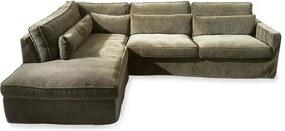 Rivièra Maison - Brompton Cross Corner Sofa Chaise Longue Left, velvet, shadow - Kleur: grijs