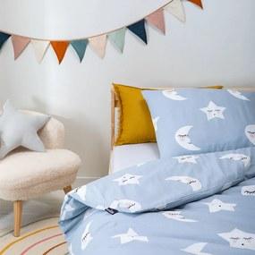 Fresh&Co  Kids Moon & Stars - Blauw 100 x 135 cm - Babyovertrek Dekbedovertrek