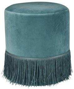 Poef met franjes - oud blauw - Ø35x40 cm