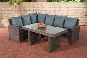 Wicker Poly rotan lounge dining set BERMEO, hoekbank + eettafel 140 x 80 cm, 6 plaatsen - kleur van 5 mm rotan bruin gemeleerd overtrek ijzerachtig grijs