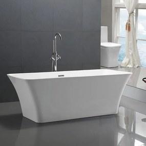 Ligbad Vrijstaand Bellonia Rechthoek 75x170x60cm Glasvezelversterkt Hoogwaardig Acryl Glans Wit met Badwaste en Overloop
