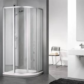 Douchecabine Sealskin Get Wet 110 Kwartrond Luxe 90x90x190cm Mat Zilver Helder Glas
