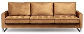 Rivièra Maison - West Houston Sofa 3,5 Seater, velvet, cognac - Kleur: bruin