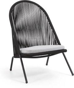 Kave Home Shann Zwarte Loungestoel Voor Buiten