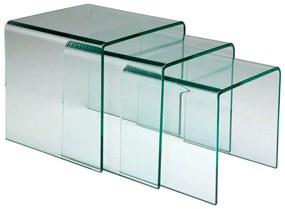 Kare Design Clear Club Set Van Drie Glazen Bijzettafels