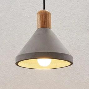 Betonnen hanglamp Caisy met hout, rond - lampen-24