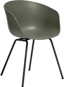 Hay About a Chair AAC26 stoel met zwart onderstel Dusty Green