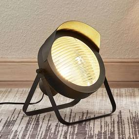 Tafellamp Henega in koplampstijl, zwart