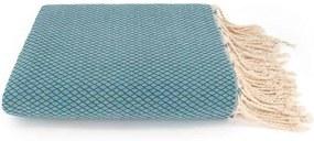 Lantara - Plaid Of Grand Foulard Petrol Katoen - Blauw - 198 x 300 cm