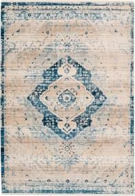 Dejaroom | Vloerkleed Deep Blue lengte 200 cm x breedte 290 cm x hoogte 0.5 cm cremekleurig, blauw vloerkleden bovenkant: | NADUVI outlet