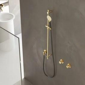 Hotbath Cobber glijstang 90cm met wandaansluitbocht doucheslang 150cm en handdouche glans nikkel M308NI