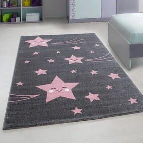 Kids Vloerkleed - Happy Stars - Rechthoek - Roze 160 x 230 cm