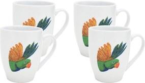 Catchii | 4x mokken 370 ml Lovebird lengte 8.5 cm x breedte 12 cm x hoogte 10 cm wit, groen, geel kopjes & mokken porselein | NADUVI outlet