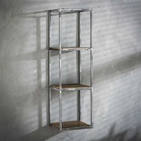 Dimehouse | Wandrek Grace medium: lengte 25 cm x breedte 30 cm x hoogte 100 bruin, grijs wandplanken & -haken hardhout, | NADUVI outlet