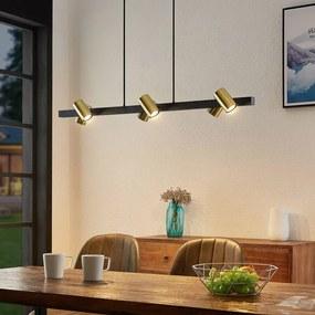 Savoli hanglamp, lang, zwart-goud - lampen-24