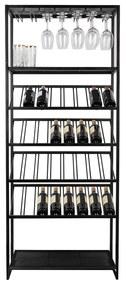 Zuiver Cantor Zwart Metalen Wijnrek - 75x35x180cm.