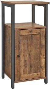 Nancy's Nachtkastje Industrieel - Bijzettafel - Nachtkasten - Hout - Metaal - Bruin - 40 x 30 x 80 cm