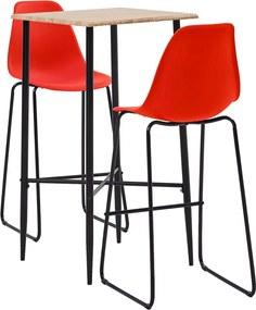 3-delige Barset kunststof rood