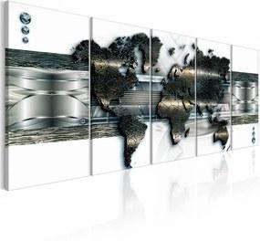 Schilderij - Wereldkaart 3d look , metaal look , 5 luik