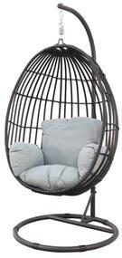 Hangstoel Panama swing egg - black rotan/mint grey