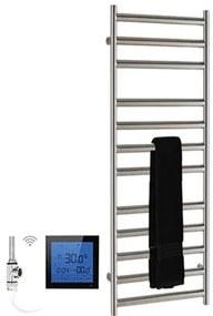 SSI Design Athena elektrische radiator met zwarte digitale thermostaat RVS gepolijst 80x60cm 300W