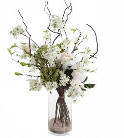 Samengesteld Groot Wit Bloemen Boeket. H± 75 cm Excl. vaas