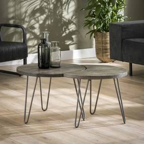 Salontafelset van twee bijzettafels met Ø60cm Donker  - Mango hout - Giga Meubel