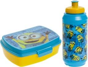 Broodtrommel en drinkfles Minions blauw/geel 2-delig