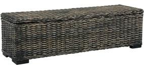 Opbergbox 120 cm kubu rattan en massief mangohout zwart