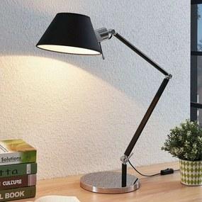 Bureaulamp Alika met stoffen lampenkap, zwart