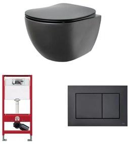 Alento toiletset - hangtoilet Rimless mat zwart - met Tece reservoir/bedieningsplaat - mat zwart