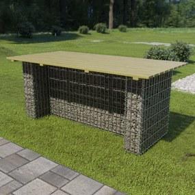 Tuintafel met stalen gabion 180x90x74 cm grenenhout