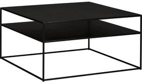 Goossens Salontafel Saar vierkant, metaal zwart, elegant chic, 80 x 40 x 80 cm