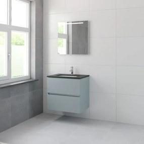 Bruynzeel Miko badmeubelset 66.5x71x51cm 1 kraangat 1 wasbak 2 lades met spiegel met softclose fjord groen 123102212