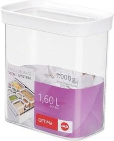 Droge opbergbox OPTIMA, 1,6 liter, trans / wit