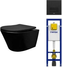 Wiesbaden Vesta toiletset Rimless 52cm mat zwart Wisa inbouwreservoir softclose en quickrelease toiletzitting met bedieningsplaat mat zwart SW228315/0704408/0701539