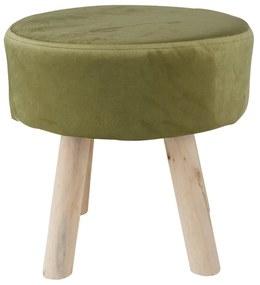 Krukje velvet met houten poten - groen - 35x35 cm