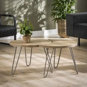 Salontafelset van twee bijzettafels met Ø60cm Licht  - Mango hout - Giga Meubel