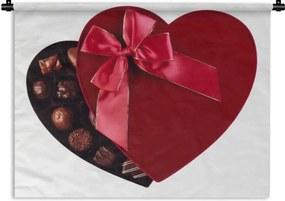 Wandkleed Bonbons - Een doos bonbons voor je valentijn Wandkleed katoen 150x112 cm - Wandtapijt met foto