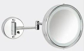 Basic make-up spiegel met LED-verlichting en zwenkbaar met schakelaar 19 cm, chroom