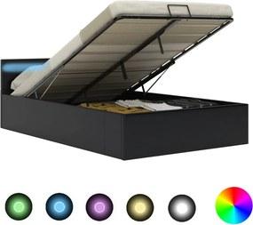 Bedframe met opslag hydraulisch LED kunstleer zwart 140x200 cm