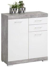 Kast met 2 deuren en 2 lades 80x34,9x89,9 cm betonkleurig en wit