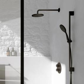 Cobber IBS 20A inbouw doucheset - mat zwart - met staafhanddouche - 30cm hoofddouche - met plafondbuis 30cm - glijstang met uitlaat